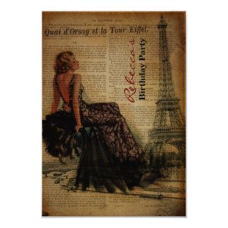 festa de aniversário francesa elegante do vintage convites