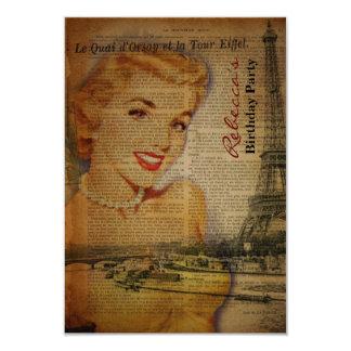 festa de aniversário francesa elegante do vintage convite 8.89 x 12.7cm