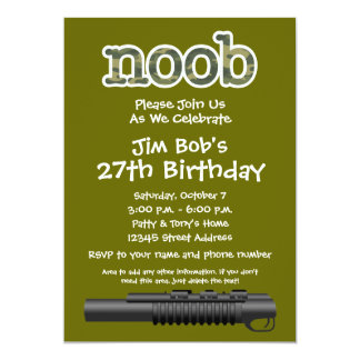 Festa de aniversário - Gamer engraçado de Noob Convite