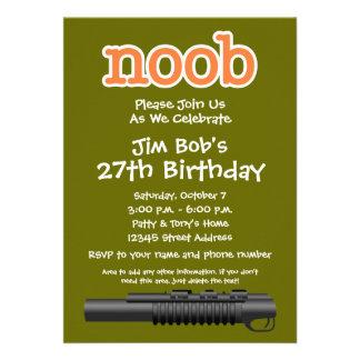 Festa de aniversário - Gamer engraçado de Noob Convite Personalizados