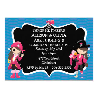 Festa de aniversário gêmea do pirata das meninas convite 12.7 x 17.78cm