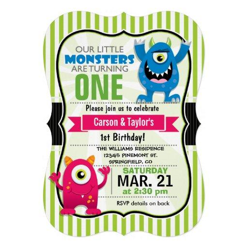 Festa de aniversário gêmea dos monstro convites