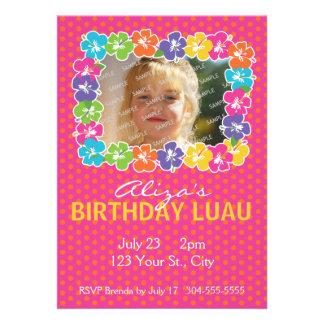 Festa de aniversário havaiana de Luau Convite Personalizado