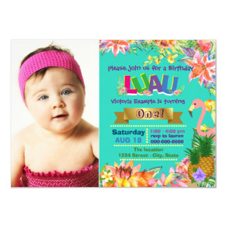 Festa de aniversário havaiana de Luau das meninas Convite 11.30 X 15.87cm