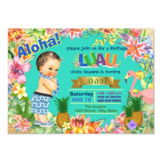 Festa de aniversário havaiana de Luau do menino Convite 11.30 X 15.87cm