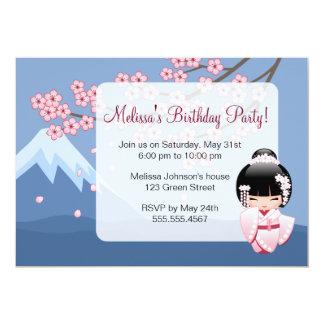 Festa de aniversário japonesa da boneca de Kokeshi Convite 12.7 X 17.78cm