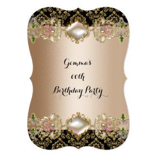 Festa de aniversário Jewelled do rosa do café gema Convite 12.7 X 17.78cm