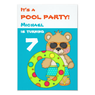 Festa de aniversário legal da piscina de urso da convite 8.89 x 12.7cm