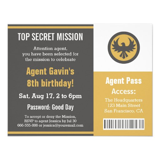 Festa de aniversário legal do agente secreto convite personalizado