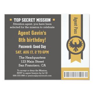 Festa de aniversário legal do agente secreto convite 10.79 x 13.97cm
