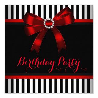 Festa de aniversário listrada branca do preto convite quadrado 13.35 x 13.35cm