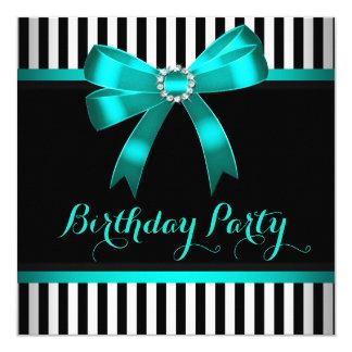 Festa de aniversário listrada branca do preto do convite quadrado 13.35 x 13.35cm