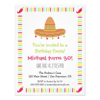 Festa de aniversário mexicana do adulto da festa convite personalizado