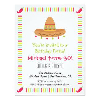 Festa de aniversário mexicana do adulto da festa convite 10.79 x 13.97cm