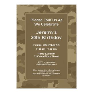 Festa de aniversário militar do tema de Camo Convite 12.7 X 17.78cm