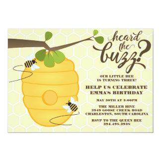 Festa de aniversário moderna da abelha convite 12.7 x 17.78cm