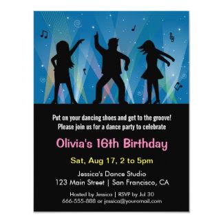 Festa de aniversário na moda à moda da dança do convite 10.79 x 13.97cm