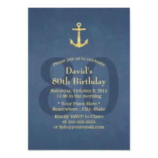 Festa de aniversário náutica do 80 da âncora do convite 12.7 x 17.78cm