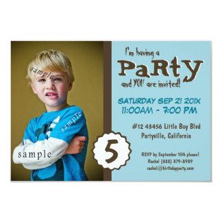 Festa de aniversário nova do azul de Brown da foto Convite 8.89 X 12.7cm