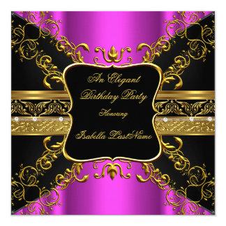 Festa de aniversário ornamentado 2 do ouro do convite personalizado