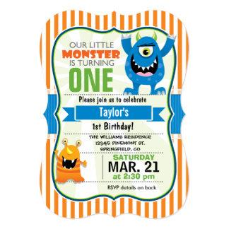 Festa de aniversário pequena engraçada do monstro convite 12.7 x 17.78cm