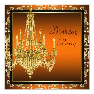 Festa de aniversário preta alaranjada do convite quadrado 13.35 x 13.35cm