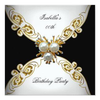 Festa de aniversário preta branca da pérola do convite quadrado 13.35 x 13.35cm
