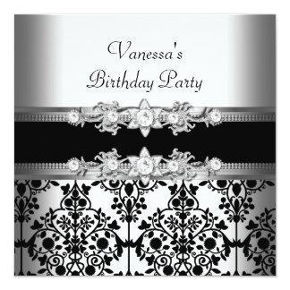 Festa de aniversário preta branca do damasco convite quadrado 13.35 x 13.35cm