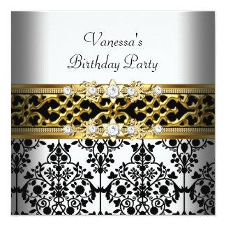 Festa de aniversário preta branca do ouro do convite quadrado 13.35 x 13.35cm