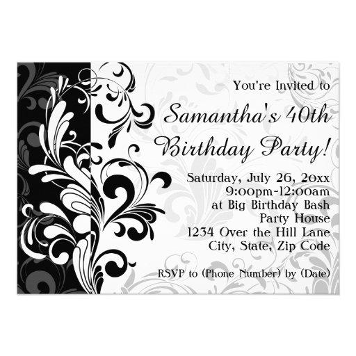 Festa de aniversário preta/branca do redemoinho da convites personalizado
