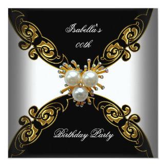 Festa de aniversário preta branca elegante da convite quadrado 13.35 x 13.35cm