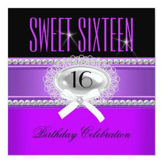 Festa de aniversário preta branca roxa do partido convite