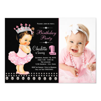 Festa de aniversário preta cor-de-rosa da princesa convite 12.7 x 17.78cm