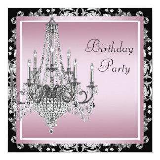 Festa de aniversário preta cor-de-rosa do convite quadrado 13.35 x 13.35cm