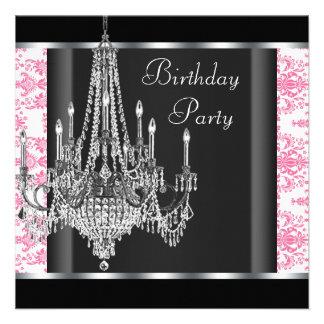 Festa de aniversário preta cor-de-rosa do damasco convite personalizado