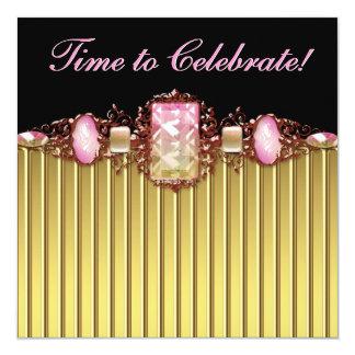Festa de aniversário preta cor-de-rosa do ouro das convite quadrado 13.35 x 13.35cm