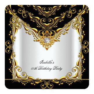 Festa de aniversário preta de prata branca convite quadrado 13.35 x 13.35cm