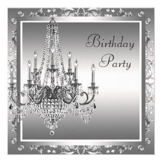 Festa de aniversário preta de prata do candelabro convites