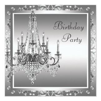 Festa de aniversário preta de prata do candelabro convite quadrado 13.35 x 13.35cm