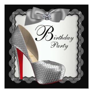 Festa de aniversário preta & de prata dos calçados convite quadrado 13.35 x 13.35cm