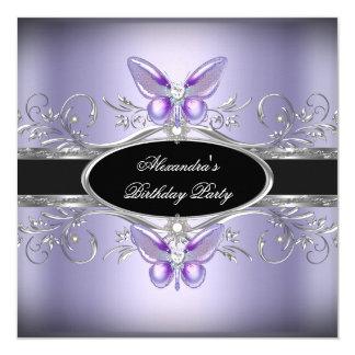 Festa de aniversário preta de prata roxa da convite quadrado 13.35 x 13.35cm