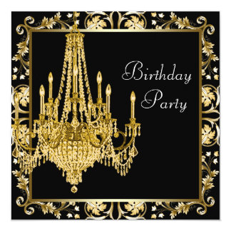 Festa de aniversário preta do candelabro do convites