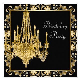 Festa de aniversário preta do candelabro do damasc convites