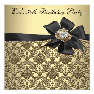 Festa de aniversário preta do damasco 50th do ouro convite
