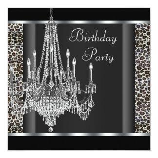 Festa de aniversário preta do leopardo do convite quadrado 13.35 x 13.35cm