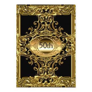 Festa de aniversário preta do melhor 50th ouro convite 12.7 x 17.78cm