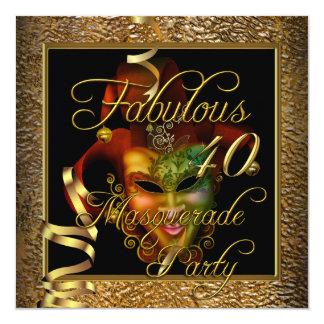 Festa de aniversário preta do ouro 40 fabuloso do convite quadrado 13.35 x 13.35cm