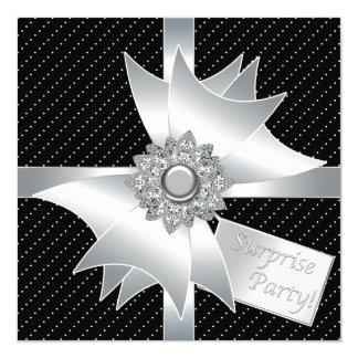 Festa de aniversário preta elegante da surpresa convite quadrado 13.35 x 13.35cm