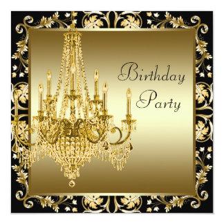 Festa de aniversário preta elegante do candelabro convite personalizado