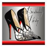 Festa de aniversário preta vermelha de prata dos s convites personalizado